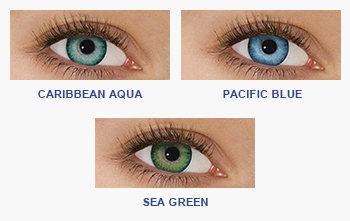 FreshLook Dimensions - Caribbean Blue, Pacific Blue, and Sea Green
